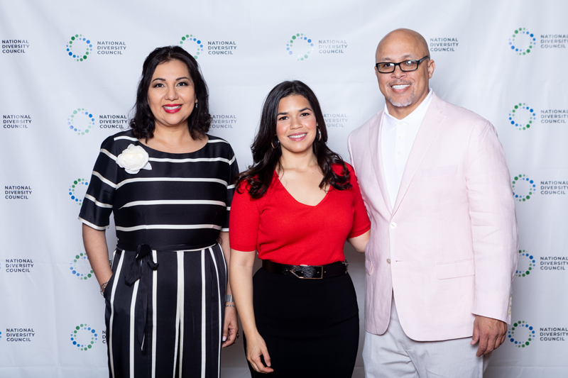 (L to R): Angeles Valenciano, CEO of the National Diversity Council, actress America Ferrera and Dennis Kennedy at the 15th Annual National Diversity & Leadership Conference, 2019.