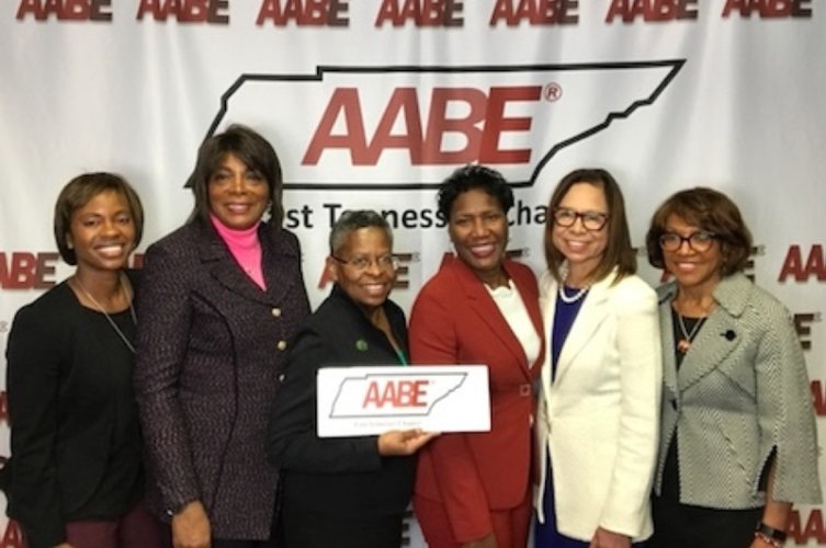 Rose McKinney-James and co-authors with TVA executives (L to R): TVA exec, McKinney-James, Carolyn Green, TVA exec, Hilda Pinnix-Ragland and Joyce Hayes Giles. (Co-author Telisa Toliver not pictured.)