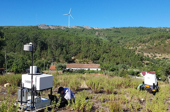 Professor Rebecca J. Barthelmie (and team), working with remote sensing Doppler lidars, during an international field experiment on flow in complex terrain in Portugal. Photo courtesy Sara C. Pryor.