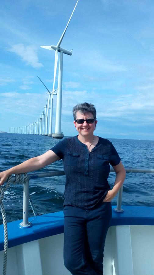 Professor Sara C. Pryor sailing to the Middelgrunden offshore wind farm in Denmark. Photo courtesy Sara C. Pryor.