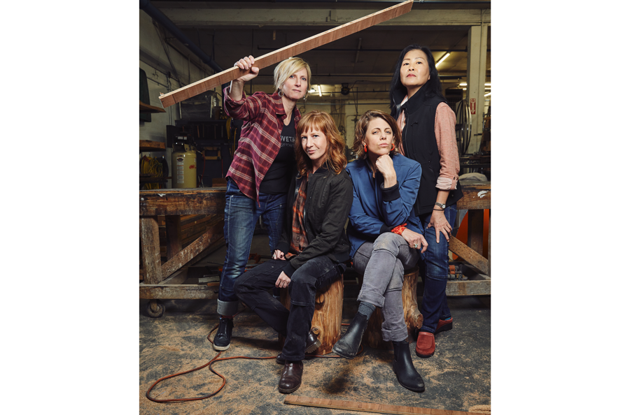 Left to right: Sara DeLuca, Product Development Director; Kyle Begley, Marketing Director; Kate Day, Brand Director; and Andrea Obana, Head of Customer Service. Photos courtesy of Dovetail Workwear.