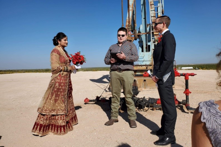 Who says there was nothing to celebrate in 2020? On October 17, 2020, Yogashri Pradhan, senior reservoir engineer with Endeavor Energy, and Ryan Yarger were married by Dawson Hoover in Midland, Texas, on-site at the Tex Harvey Spraberry 941H. Two months later, on December 11, 2020, Pradhan graduated from Texas A&M with a Master of Science – Petroleum Engineering. Congratulations! Photo courtesy of Deanna Racca.