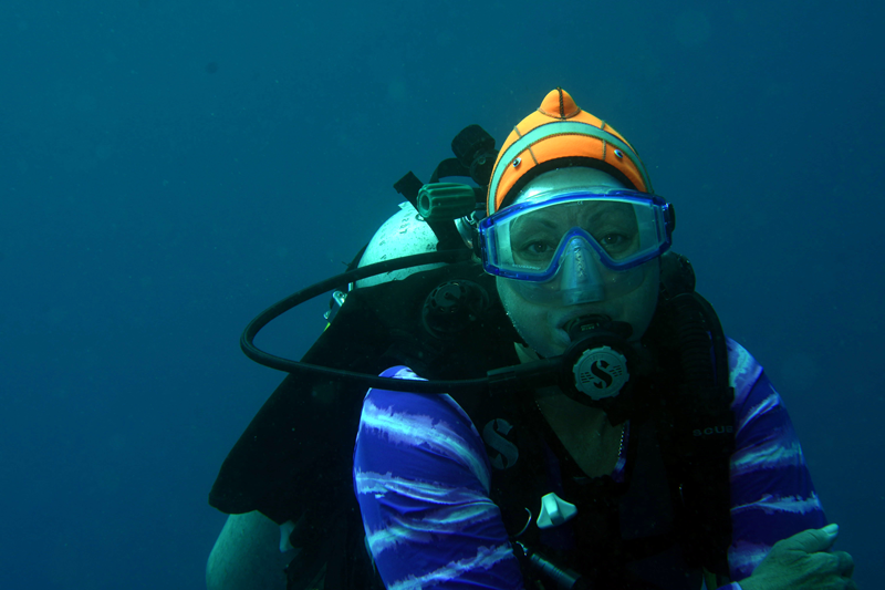 Chris Summers diving in the Banda Sea, Indonesia.