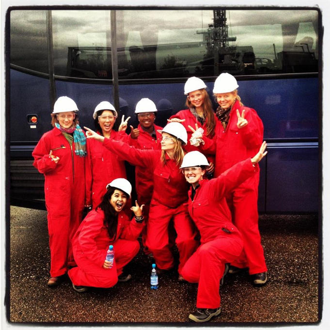 Royal Dutch Shell graduate program – rig site training in the Netherlands. (Rachel Kernen, bottom right.)