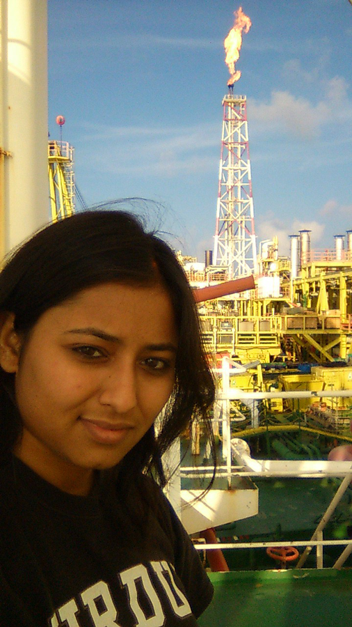 Richa Bansal in the Federal Territory of Labuan on a rig in the South China Sea, Malaysia (early 2012).