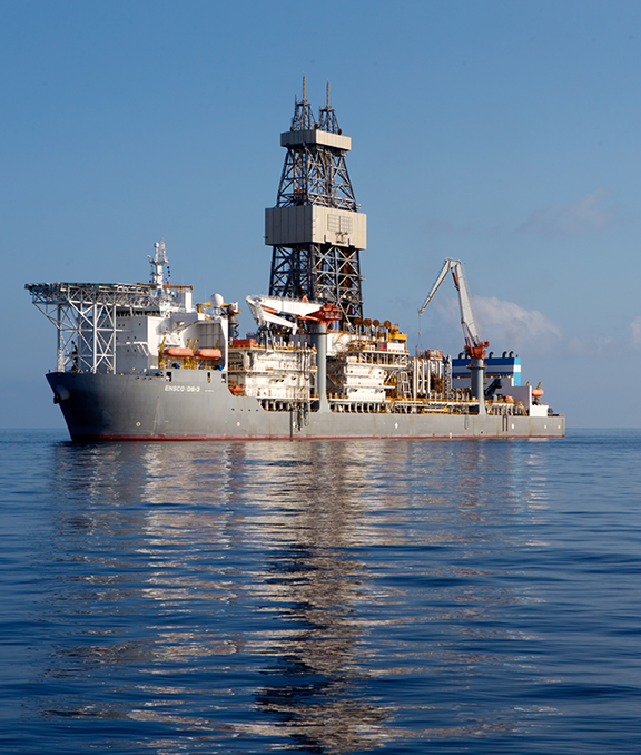Drillship DS3 (operated by ENSCO whenthe photo was taken). Currentlyowned by Valaris and was drilling in the Gulf of Mexico.
