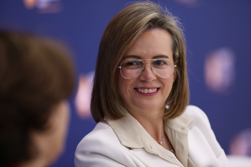 Maria Claudia Borras participates in a panel discussion at the St. Petersburg International Economic Forum (SPIEF) in June 2021. The discussion focused on promoting gender parity to advance sustainable development and increase industry profitability. (All COVID protocols were followed.)