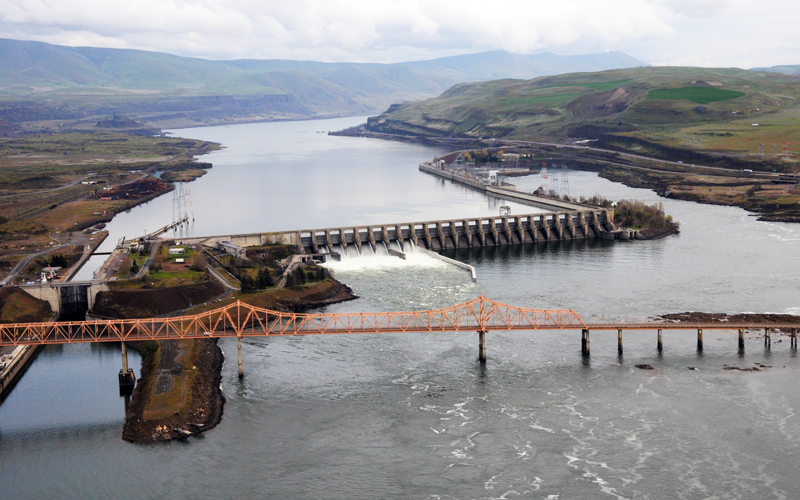 Dalles Lock and Dam in Oregon. Photo courtesy of U.S. Army Corps of Engineers Portland District.